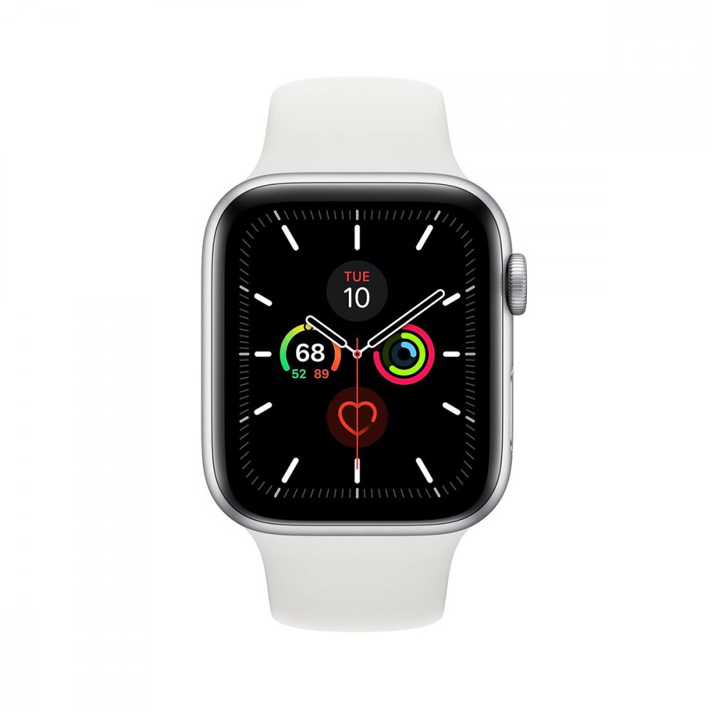 Apple Watch Series 5 GPS 44mm Silver Aluminium Case White Band