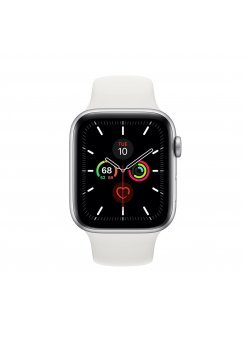 Apple Watch Series 5 GPS 44mm Silver Aluminium Case White Band - Смарт часовници и гривни