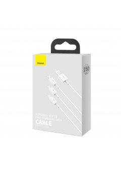 Универсален кабел Baseus 3-in-1 Fast Charge White - Baseus