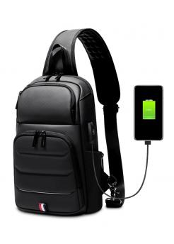 Класическа мъжка чанта с USB зарядно Black - Аксесоари