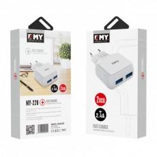 Мрежово зарядно устройство EMY MY-220 Micro USB